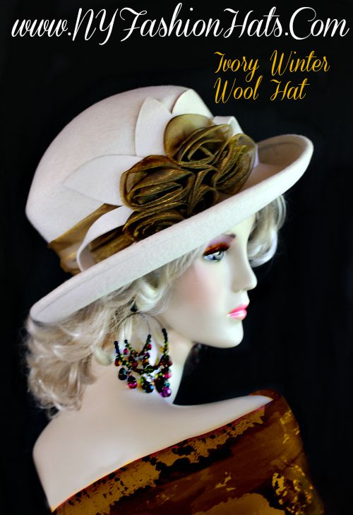 Ladies Ivory Metallic Antique Bronze Hat Winter Wool Designer Hats 0308c395d68