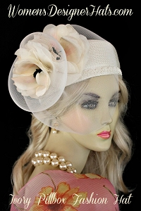 Hats Ivory Emerald Pillbox Wedding Bridal Hat Women's Designer Hats
