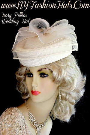 Ladies Designer Ivory Pillbox Fashion Hat Wedding Church Holiday Hats