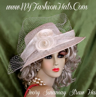 Women's Ladies Ivory Sinamay Straw Designer Hat Spring Hats B912
