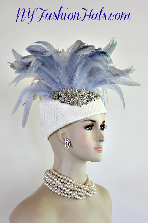 c0ec4147245 Women s High Crown Ivory Shaped Pillbox Fashion Designer Haute Couture Hat  Headpiece Trimmed With Expensive Long Ice Blue Coque Feather. A Vintage  Custom ...