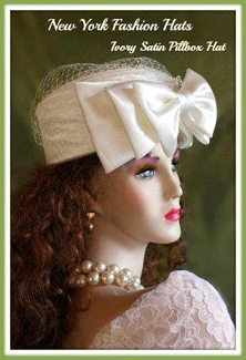 Ladies Women's White Satin Formal Pillbox Designer Hat Fashion Hats 3PMB