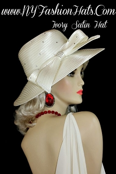 Ladies Ivory Satin Bridal Brides Wedding Hat Designer Dress Hats G098