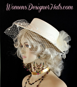 Ladies Ivory Designer Hat With A Veil Weddings Formals Dress Hats