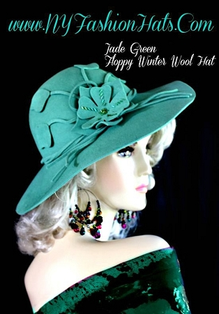 Jade Green Brown Violet Purple Wide Brim Ladies Designer Winter Hat