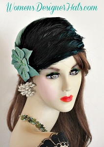 Jade Green Black Cloche Flapper Roaring Twenties Hat Winter Hats