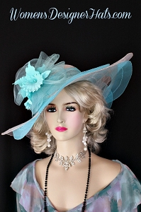 Turquoise Aqua Blue White Wide Brim Kentucky Derby Hat, Womens Hats