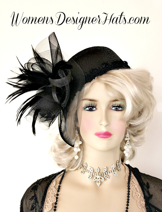 91cedbfa54af7 Woman s Black Custom Made Cloche Designer Fashion Pillbox Style Hat. This  Fashion Hat Is Inspired By The 1920s Flapper Era Hats. This Dress Hat Is  Trimmed ...