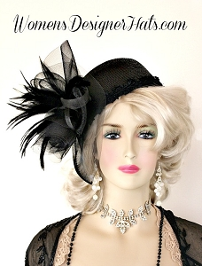 Black Cloche Flapper Pillbox Fashion Hat, Customize Feather Colors