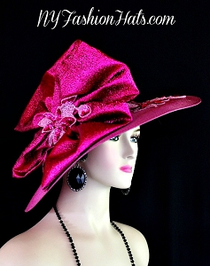 Magenta Fuchsia Hot Pink Designer Hat Wedding Church Formal Hats