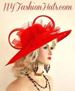 Red Wide Brimmed Designer Fashion Occasion Hat Woman's Designer Hats