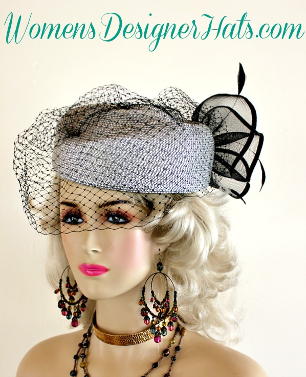 b9a21dd8475 Ladies Metallic Silver And Black Custom Made Pillbox Designer Fashion Hat  With A Face Veil. This Dress Hat Is Trimmed With A Large Black Crinoline  Bow