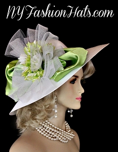 White Lime Green Wide Brim Designer Fashion Wedding Hat Derby Hats