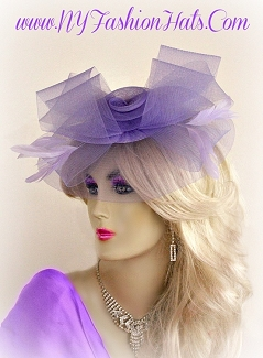 Women's Lavender Purple Wedding Cocktail Hat Fascinator Headpiece