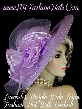 Lavender Purple Designer Dress Hat With Orchids, NY Fashion Hats