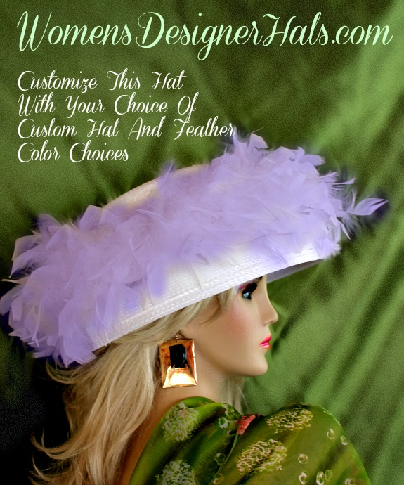 This Designer Hat Is Trimmed With Feathers Around The Entire Crown Of This  Versatile Hat. This Beautiful Dress Hat ... 0298db57c6af