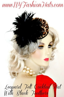 Beige Brown Black Leopard Feather Cocktail Hat, Flapper Art Deco Hats
