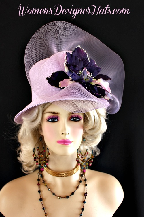 Ladies Lilac Purple Custom Made Straw Braid Designer Fashion Church Hat  With A Large Flower And Crinoline Bow. This Dress Shaped Hat Is Trimmed  With A Large ... 94a661347d6