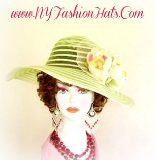 Lime Green And Ivory Fashion Designer Dressy Formal Ladies Hat 9WVY
