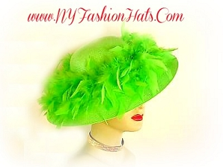 Ladies Lime Green Custom Hat With Feathers Wide Brim Fashion Hats K98