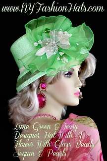 Lime Green Ivory Designer Hat For Women, Dress Hats For Weddings