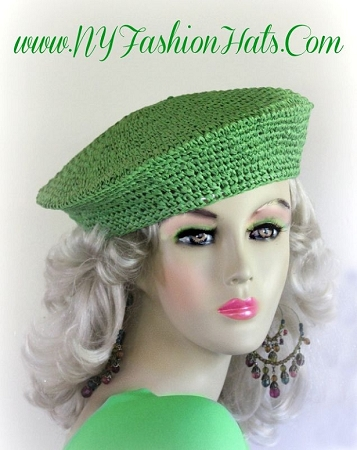 Lime Green Spring Summer Fall Straw Beret Cap Ladies Hats Berets 774B
