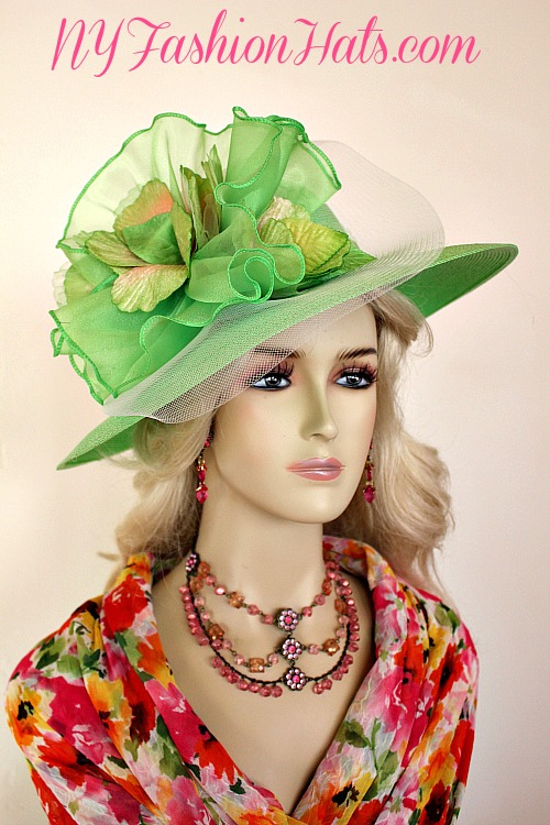 716da78e517 Ladies Lime Green Wide Brim Kentucky Derby Hat With A Lime Green And Ivory  Bow