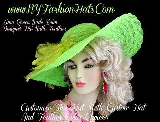 Lime Green Wide Brim Ladies Dress Hat With Feathers, NY Fashion Hats