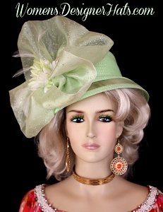 Lime Green Celery White Kentucky Derby Hat, Women's Designer Hats