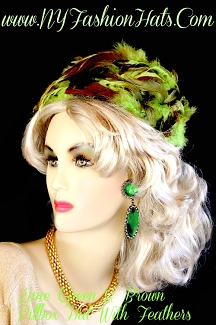 Church Hats Lime Olive Green Copper Brown Pillbox Hat With Feathers