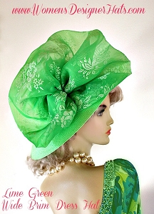 Lime Green Wide Brim Kentucky Derby Hat, Women's Designer Hats
