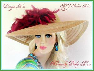 Ladies Beige Church Hats Kentucky Derby Wide Brim Designer Hat 3CTE