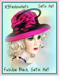 Women's Fuchsia And Black Satin Designer Hat Wedding Fashion Hats 34B
