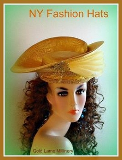 Metallic Gold Or Silver Lame Designer Hat For Weddings NY Fashion Hats