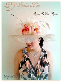 Ivory Rose Fashion Designer Hat Dressy Formal Ladies Hats 2EVJ