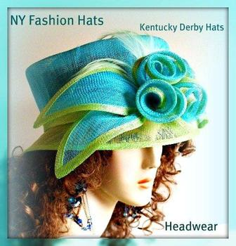 Turquoise Fashion Designer Dressy Formal Ascot Ladies Hat 4SZL