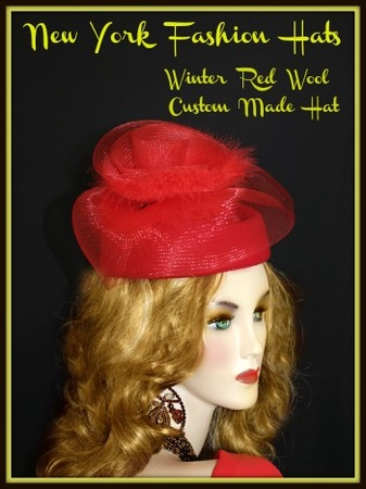 Red Dressy Wool Winter Pillbox Designer Hat For Special Occasion 3KZW