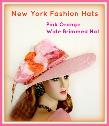Ladies Pink Wide Brimmed Designer Kentucky Derby Hat, Womans Hats