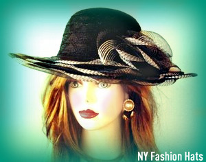 Ladies Hats Black White Wide Brim Fashion Women's Dress Hat 3ENV