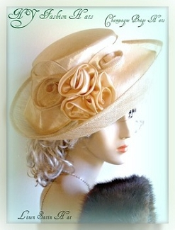 Ivory Champagne Beige Sinamay Straw Satin Designer Hat Ladies Kentucky Derby Hats
