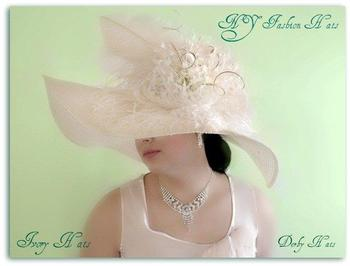 Ivory Wide Brim Dressy Fashion Hat Women's Formal Church Hats 9ZEW