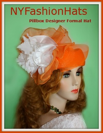 Orange Fashion Designer Dressy Formal Ascot Ladies Hat 4BWJ