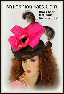 Black Hot Pink Satin Victorian Style Hat Ladies Designer Formal Hats
