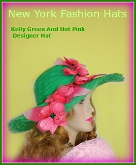 Kelly Green Hot Pink Wide Brim Designer Hat, NYFashion Hats