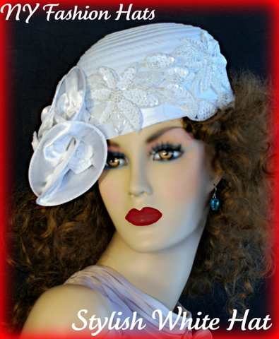 White Fashion Designer Formal Bridal Cocktail Ladies Hat Wedding Hats