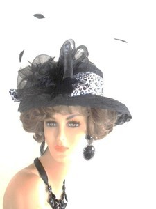 Ladies Black White Designer Animal Print Hat Fashion Hats 34BNK