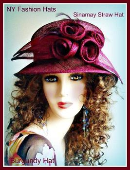 Ladies Hats Burgundy Straw Spring Summer Hat For Women 8VEW