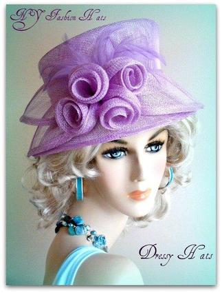 Lavender Fashion Designer Dressy Formal Ascot Ladies Hat 7UTB