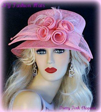 Pink Fashion Designer Dressy Formal Ascot Ladies Hat 4NTZ