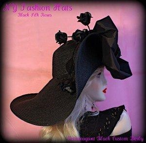 Ladies Black Wide Brim Designer Hat With Roses Kentucky Derby Hats